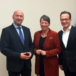 Rainer Thiel, Umweltministerin Barbara Hendricks und Reiner Breuer (v.l.n.r.)