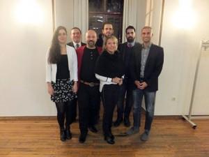 v.l.n.r.: Berna Yoleri, Erik Lierenfeld, Ataman Yildirim, Haris Vejo, Sonja Medina Canas, Deniz Senol und den Landesvorsitzenden Ali Dogan