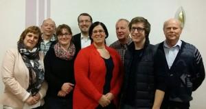 Foto: Der neue Vorstand des SPD OV Dormagen - Katja Creutzmann, Thomas Schmitz, Sonja Kockartz-Müller, Ruben Gnade, Jenny Gnade, Bernd Hoffs, Alexander Wysk, Kurt Stöcken (v.l.)