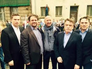 Sachsens Wirtschaftsminister Martin Dulig, Guido van den Berg MdL, Rainer Thiel MdL, NRW Verkehrsminister Mike Groschek und Stefan Kämmerling MdL
