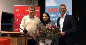 (v.l.n.r.:) Ralph-Harry Klaer (SPD Krefeld), Gewerkschafterin Nicole Specker und Daniel Rinkert (SPD Rhein-Kreis Neuss)
